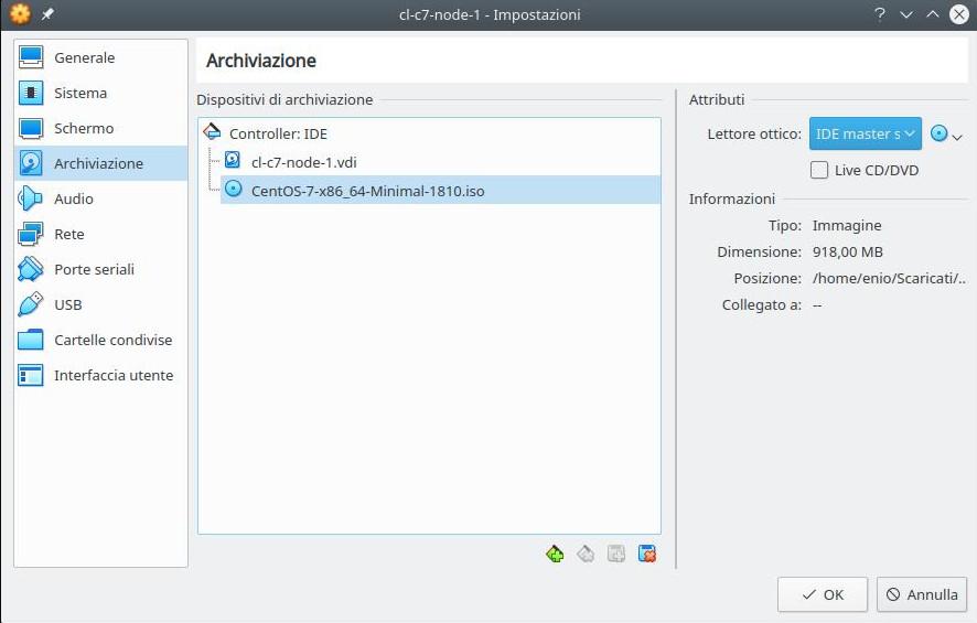 Cluster linux: installazione nodo 1 (iso centos 7 minimal)