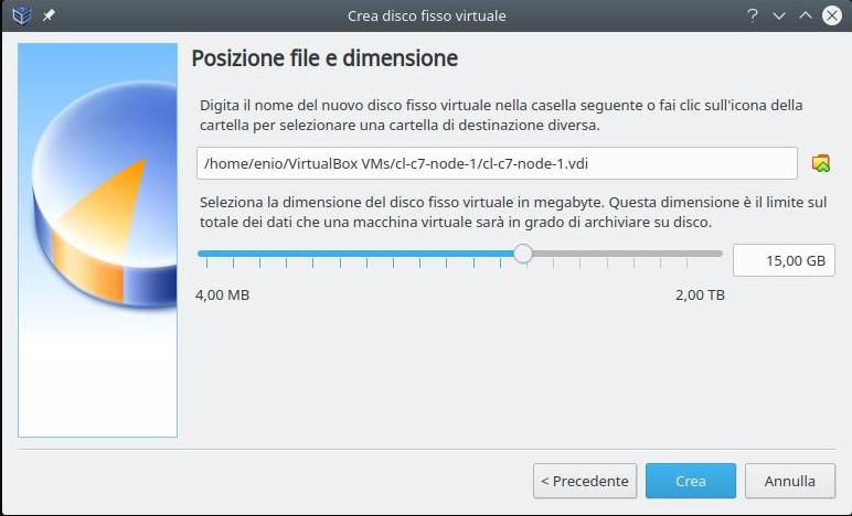 Cluster linux: installazione nodo 1 (dimensione disco)