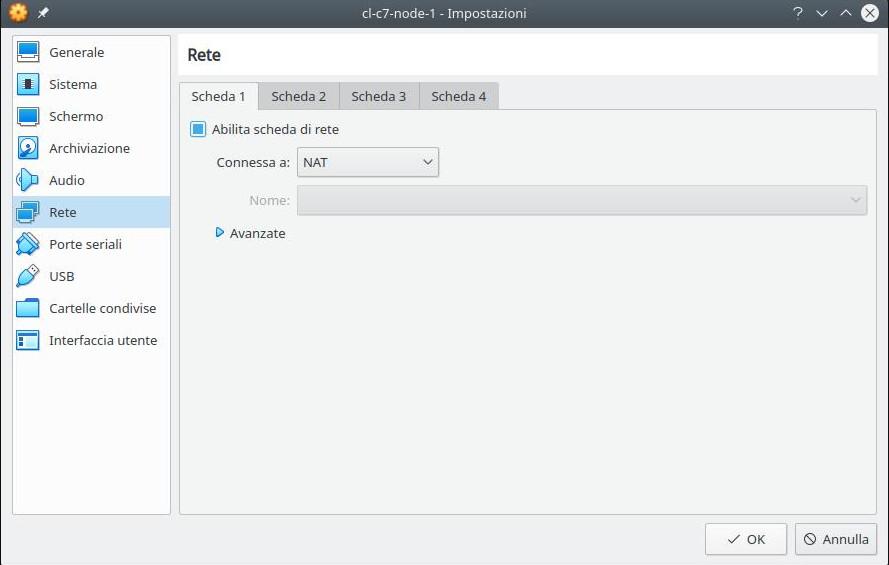 Cluster linux: installazione nodo 1 (scheda NAT)