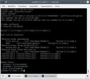 cluster linux: comando pcs status